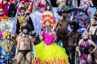 The Mardi Gras Parade providing colour at Sydney Cricket Ground the day before the event.