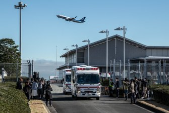 Ambulances carrying Japanese citizens repatriated from Wuhan.