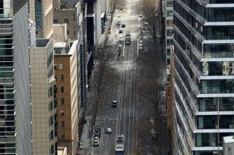 A near-empty William Street in Melbourne's CBD.