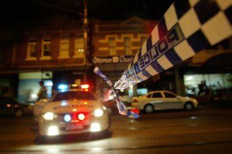 The Sydney Road crime scene on the night Lewis Moran was murdered by a masked gunman inside the Brunswick Club.