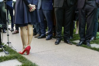 """Julie Bishop's """"resignation"""" red shoes have become an icon of Australian political life."""