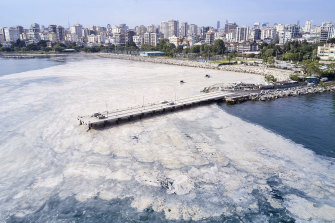 A huge mass of marine mucilage at the Bostanci shore on the Asian side of Istanbul, Turkey, on Monday.