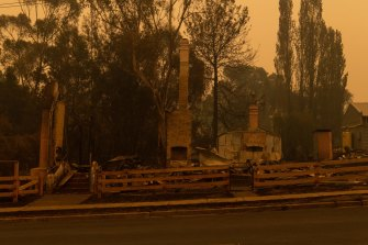 The main street of Cobargo on 1 January, 2020, the day after the town was destroyed by bushfires.