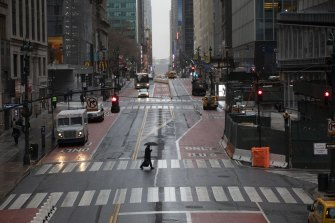 The once bustling streets of New York are now virtually empty.