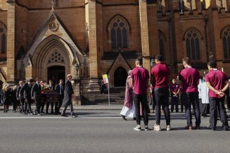 The State funeral for Robert 'Bob' Fulton held at Saint Mary's Cathedral in Sydney.