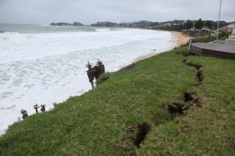 Erosion due to wild weather at Wamberal on the Central Coast.