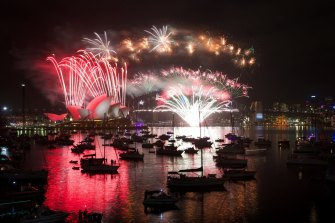 New Years Eve midnight fireworks over Sydney Harbour on January 1, 2020.