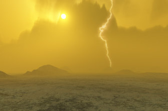 An artist's impression of what the surface of Venus might look like.