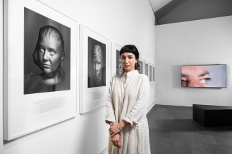 Hoda Afshar with her work Agonistes, winner of the people's choice prize.