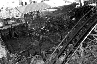 The devastation after the Ghost  Train fire at Luna Park in Sydney in 1979.