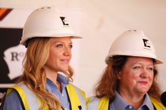 In 2015, Ginia and Gina Rinehart celebrated the first shipment of iron ore from Hancock Prospecting's $10 billion Roy Hill mine.