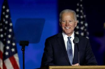 Joe Biden, 2020 Democratic presidential nominee, addresses his supporters from Wilmington, Delaware.