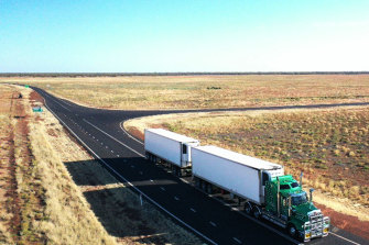 Road train nearCunnamullah in outback Queensland.