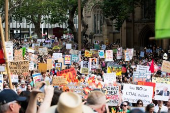 Climate protesters rally in Sydney amid the bushfire crisis.