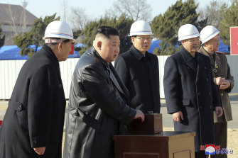 North Korean leader Kim Jong-un at the ground-breaking ceremony of a general hospital in Pyongyang.