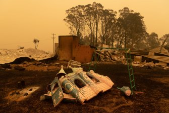 The property of Barbara Rugendyke and Dave Rugendyke in Cobargo has been devastated by bushfires.