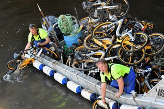 Dozens of oBikes were dragged from the Yarra.