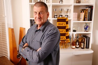 Jeff Kennett poses for photo in his office after being announced as the Hawthorn president for a second time in 2017.