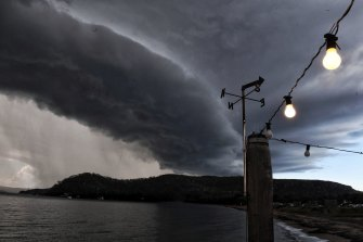 A line of storms associated with an east coast low sweeping over the Hawkesbury River north of Sydney in July 2020.