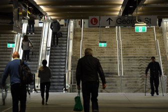 People walk through Wynyard Station on Monday morning.