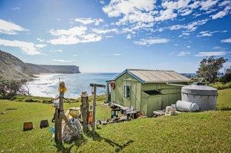 Tim and Denise Strange's shack overlooking Little Garie Beach, Royal National Park, Sydney.