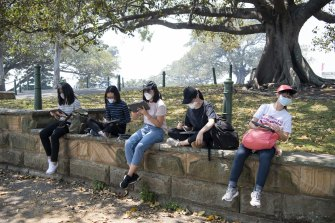 People wearing face masks at Sydney's Botanical Gardens, due to hazardous air quality from bushfire smoke.