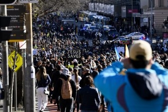 Thousands of people marched through Sydney in protest of the city's lockdown.