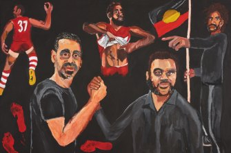 Archibald Prize winner Vincent Namatjira's portrait of Adam Goodes and himself.