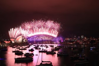 The New Year's Eve Fireworks from Mrs Macquarie's Point in Sydney.