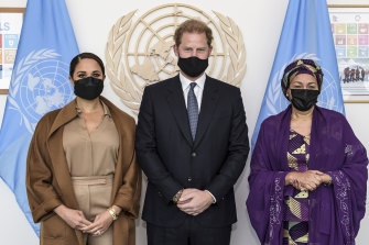 Meghan Markle and Prince Harry with UN Deputy Secretary-General Amina Mohammed at the UN headquarters in New York.