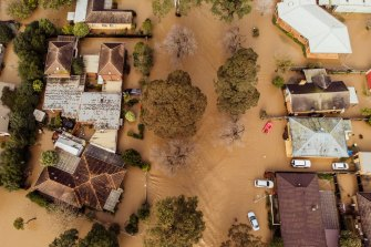 An aerial view of flooding in Traralgon in Gippsland on June 10.