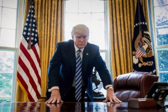 US President Donald Trump in the Oval Office in April 2017, part of his interview with the Associated Press.