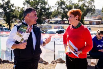 NSW Deputy Premier John Barilaro, in Muswellbrook campaigning for Nationals candidate Dave Layzell, speaks with One Nation's federal leader Pauline Hanson, who is campaigning for Dale McNamara.