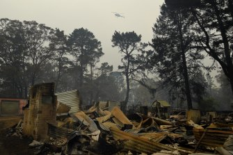 A house destroyed by bushfire in Wingello, NSW, in January, 2020.