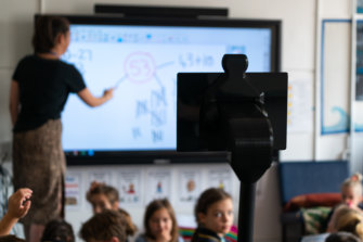 Ayla's telepresence robot lets her see into the classroom when she cannot attend. MissingSchool, the provider, is calling for the robots to be more available since the pandemic has kept more children at home.