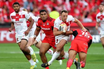 St Helens legend James Roby in action for England.