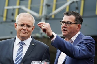 Prime Minister Scott Morrison and Premier Daniel Andrews speaking to media about the airport rail link at Sunshine station in April, 2019.
