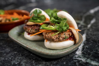 Impossible Pork bao at CES. The faux meat contains protein from soy, fat from sunflowers and coconuts, plus amino acids, vitamins, sugar and the iron-containing heme compound that produces meaty flavours.