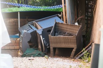 Some of the items fell more than two metres as the balcony collapsed.