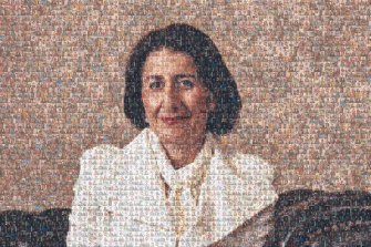 A composite mosaic photo of NSW Premier GladysBerejiklianmade with photos taken at her daily press conferences this year. There are more than 330 photographs taken by Herald photographers used in this image.