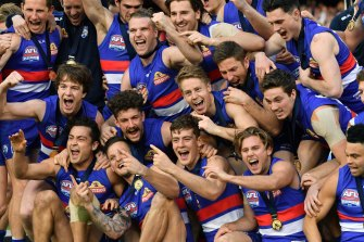Mission accomplished: The Western Bulldogs, 2016 premiers.