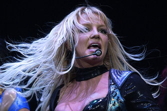 Britney Spears performs during her 2004 world tour.