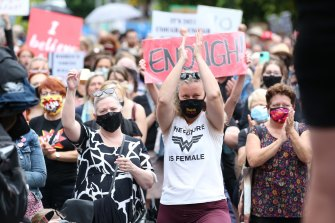 Protesters rally in Brisbane.
