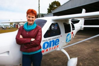 "Pauline Hanson with the plane she used on her ""Fed Up"" campaign, which was allegedly bought with an undisclosed donation from Bill McNee."