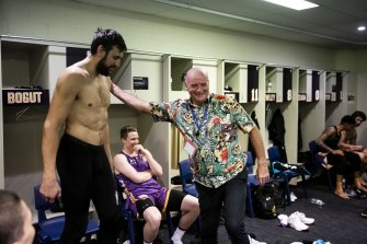 Paul congratulates the Sydney King's marquee man and NBA champion Andrew Bogut after the game.