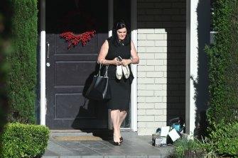 Dominique Grubisa leaving her Turramurra home in November 2020.