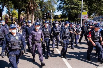 Many police were waiting for protesters at Victoria Park on Saturday.