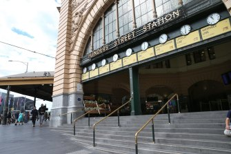 Meet you under the clocks: Flinders Street Station steps, empty on Wednesday.