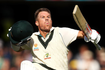 David Warner celebrates his triple century against Pakistan.