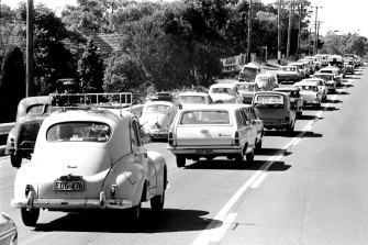 Some things never change. Heavy holiday traffic on the Pacific Highway on April 12, 1968.